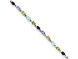 Sterling Silver 7inch Rainbow Semi-precious Bracelet style: QX706RB