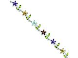 Sterling Silver 7.75inch Multi-color Semi-precious Floral Bracelet style: QX707RB