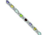 Sterling Silver Rainbow Semi-precious and Cubic Zirconia Bracelet style: QX720RB