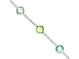 Sterling Silver Multi Color Gemstone Bracelet style: QX866RB