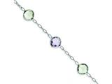 Sterling Silver Amethyst and Green Quartz Bracelet style: QX869AM