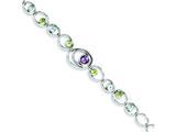 Sterling Silver Amethyst Peridot Blue Topaz Bracelet style: QX892AM