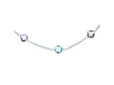 Sterling Silver 17.5in. Amethyst and Blue Topaz Necklace style: QX898AM