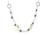Sterling Silver Antiqued Brown/green/yellow Cubic Zirconia 18in. Necklace style: QX912