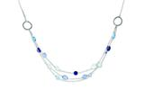 Sterling Silver Antiqued Multi Strand Blue/clear Cubic Zirconia 18in. Necklace style: QX913