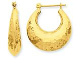 14k Hammered Fancy Hollow Hoop Earrings style: S1441