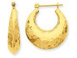 14k Hammered Fancy Hollow Hoop Earrings style: S1441