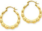 14k Polished Bamboo Hoop Earrings style: S1515