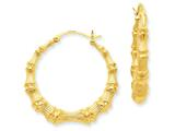 14k Polished Bamboo Hoop Earrings style: S1516