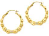 14k Polished Bamboo Hoop Earrings style: S1517
