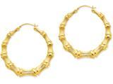 14k Polished Bamboo Hoop Earrings style: S1518