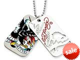 Ed Hardy Tattoo 2-piece Dog Tag Painted Necklace