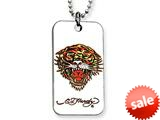 Ed Hardy Roaring Tiger Dog Tag Painted Necklace