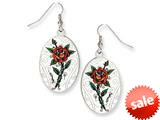 Ed Hardy Oval Rose Painted Earrings