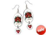 Ed Hardy Oval Dangling Heart Painted Earrings style: EHF106