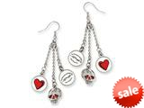 Ed Hardy Dangling Hearts and Skull Painted Earrings style: EHF108