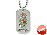 Stainless Steel Ed Hardy True To Love Dog Tag Painted Necklace