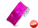 Sterling Silver 30mm Polished Pink Resin Cuff Bangle Bracelet