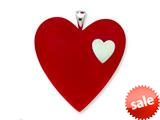 Sterling Silver Red Resin Heart Pendant - Chain Included style: QC6530