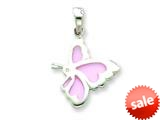 Sterling Silver Pink Resin Butterfly Pendant - Chain Included style: QC6565