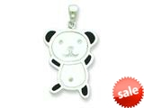 Sterling Silver Resin Panda Bear Pendant - Chain Included