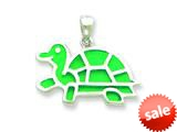 Sterling Silver Resin Turtle Pendant - Chain Included style: QC6574