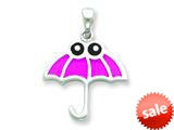 Sterling Silver Resin Pink Umbrella with Black Eyes Pendant - Chain Included