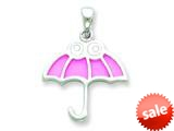 Sterling Silver Resin Pink Umbrella with White Eyes Pendant - Chain Included style: QC6576