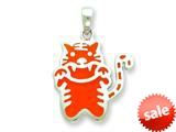 Sterling Silver Resin Orange Cat Pendant - Chain Included