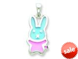 Sterling Silver Resin Blue and Pink Mouse Pendant - Chain Included