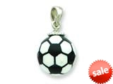 Sterling Silver Resin Large Soccerball Pendant - Chain Included style: QC6580