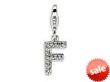 Amore LaVita™ Sterling Silver CZ Initial Letter F w/Lobster Clasp Bracelet Charm style: QCC105F