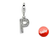 Amore LaVita™ Sterling Silver CZ Initial Letter P w/Lobster Clasp Charm for Charm Bracelet style: QCC105P