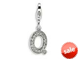 Amore LaVita™ Sterling Silver CZ Initial Letter Q w/Lobster Clasp Bracelet Charm style: QCC105Q