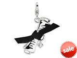 Amore LaVita™ Sterling Silver 3-D CZ Ribboned Diploma w/Lobster Clasp Charm (Fabric ribbon) for Charm Bracelet