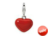 Amore LaVita™ Sterling Silver 3-D Red Enameled Heart w/Lobster Clasp Charm for Charm Bracelet