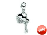 Amore LaVita™ Sterling Silver CZ Heart and Key w/Lobster Clasp Bracelet Charm style: QCC124