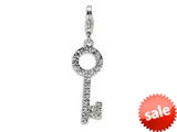 Amore LaVita™ Sterling Silver Round Top CZ Key w/Lobster Clasp Charm for Charm Bracelet style: QCC135