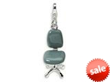 Amore LaVita™ Sterling Silver 3-D Enameled Office Chair w/Lobster Clasp Charm for Charm Bracelet