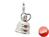 Amore LaVita™ Sterling Silver 3-D Enameled Wedding Cake w/Lobster Clasp Charm for Charm Bracelet style: QCC153