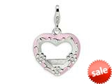 Amore LaVita™ Sterling Silver 2-D Enameled Pink Heart Photo w/Lobster Clasp Charm (Can insert photo) for Charm Bracelet