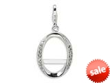 Amore LaVita™ Sterling Silver CZ Oval Photo w/Lobster Clasp Charm (Can insert photo) for Charm Bracelet style: QCC167