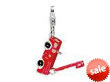 Amore LaVita™ Sterling Silver Enamel Fire Truck w/Lobster Clasp Charm (Moveable) for Charm Bracelet