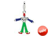 Amore LaVita™ Sterling Silver Movable and Enamel Clown w/Lobster Clasp Charm (Moveable) for Charm Bracelet style: QCC181
