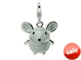 Amore LaVita™ Sterling Silver 3-D Enameled Grey Mouse w/Lobster Clasp Charm for Charm Bracelet style: QCC182