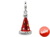 Amore LaVita™ Sterling Silver 3-D Enameled Red Party Hat for Charm Bracelet