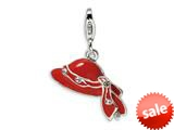 Amore LaVita™ Sterling Silver Red Enameled and CZ Hat w/Lobster Clasp Bracelet Charm style: QCC191