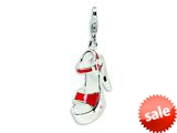 Amore LaVita™ Sterling Silver 3-D Enameled Red Platform High Heel w/Lobster Clasp Bracelet Charm style: QCC203
