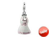 Amore LaVita™ Sterling Silver 3-D Enameled White and Pink Trimmed Dress w/Lobster Clasp Bracelet Charm style: QCC208