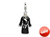 Amore LaVita™ Sterling Silver 3-D Enameled Black Robe w/Lobster Clasp Charm for Charm Bracelet